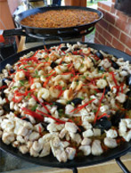 Two large Spanish paellas after preparation. Paellas for Chiltern, Rutherglen and VIC.